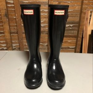 Hunter Original Black Gloss Big Girl Rain Boots